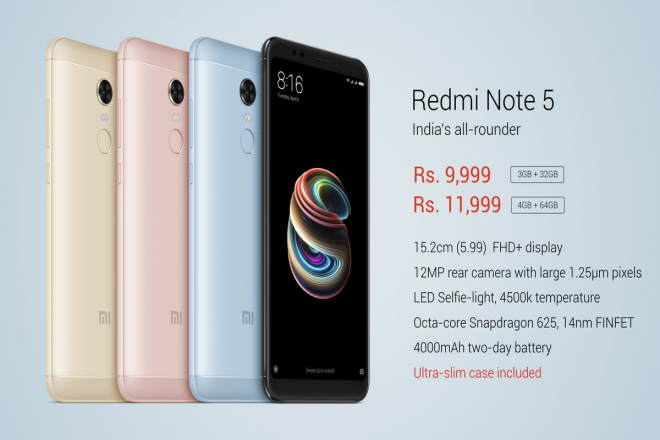 redmi note 5 specifications and price in india