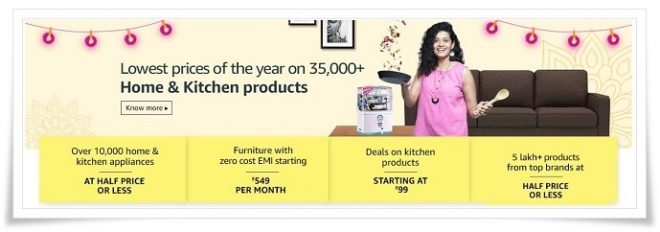 Amazon Sale Home & Kitchen Products Deals And Discount Offer - Amazon Republic Day Sale 2019 - 20th to 23rd December 2019