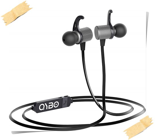 Qybo Bluetooth in-Ear Hook Earphones - best earphones under 1000, best earphones with mic under 1000, best bass earphones under 1000